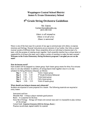 Fillable Online 5th Grade String Orchestra Guidelines Fax