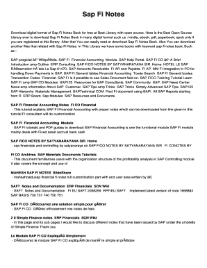 Fillable Online Sap Fi Notes Fax Email Print - PDFfiller