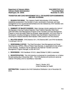 Fillable Online VHA Directive 1011, Department of Veterans