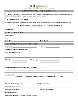 Authorization Request Form | Altamed Authorization Request Form Moren Impulsar Co