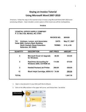 Invoice Template Word Download Free. Keying An Invoice Tutorial  Invoice Template Word 2007