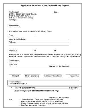 Application for refund of the caution money deposit fill online preview of sample jamnagar spiritdancerdesigns Choice Image