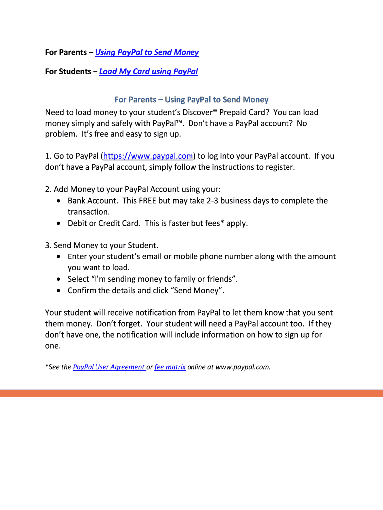For Parents Using PayPal to Send Money Fill Online, Printable