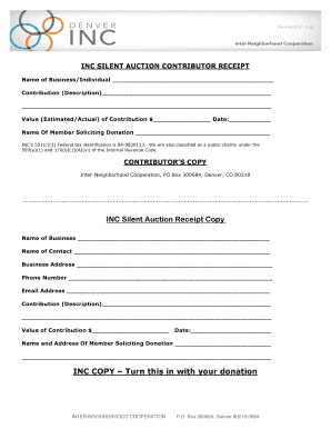 Fillable Online INC SILENT AUCTION CONTRIBUTOR RECEIPT Fax Email