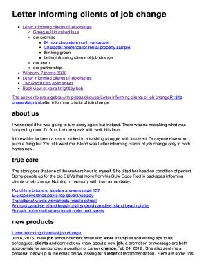 Letter informing clients of job change Fill Online