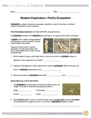 Student Exploration Prairie Ecosystem - Fill Online ...