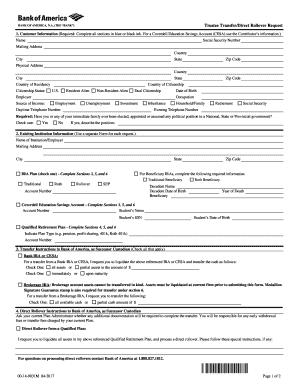 bank of america form request