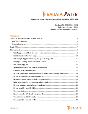 Fillable Online Teradata Aster AppCenter Web Service REST