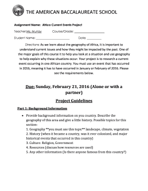 Fillable Online Assignment Name: Africa Current Events