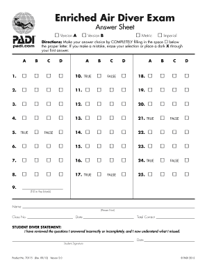 Padi Enriched Air Diver Exam Answer Key Version A Fill Online Printable Fillable Blank Pdffiller