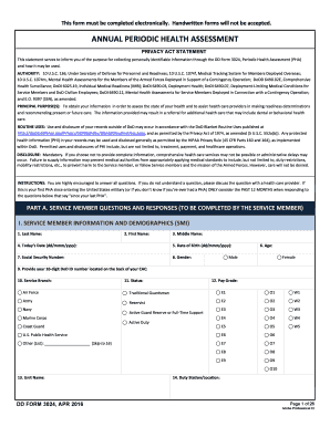 Fillable Online ANNUAL PERIODIC HEALTH ASSESSMENT Fax Email