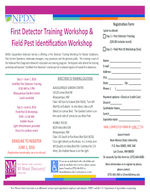 First Detector Training Workshop &
