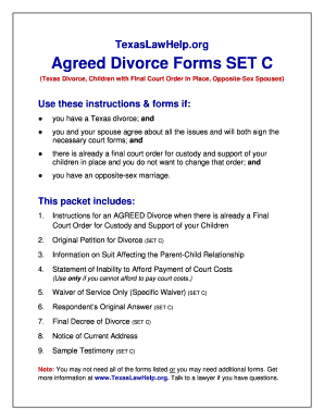 Fillable Online Agreed Divorce Forms Set C Fax Email Print Pdffiller