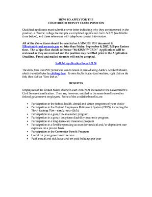 Deputy Clerk Cover Letter. COURTROOM DEPUTY CLERK POSITION