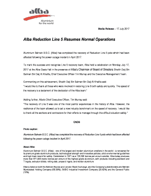 Fillable Online Alba Reduction Line 5 Resumes Normal Operations Fax