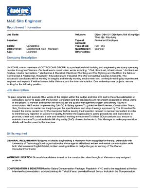 Editable site civil engineer job description - Fill, Print ...