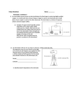 Fillable Online Electrolysis worksheet 2 Fax Email Print - PDFfiller