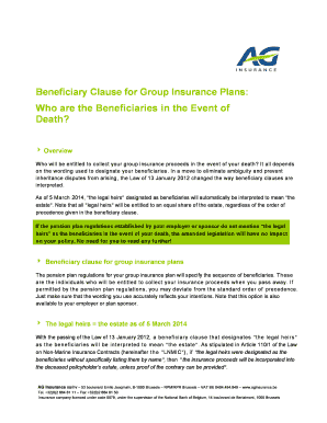 Beneficiary Letter Sample. Beneficiary Clause For Group Insurance Plans: