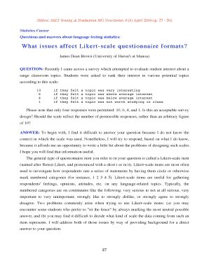 Likert scale questionnaire edit print fill out download online likert scale questionnaire shiken jalt testing evaluation sig newsletter 4 1 april 2000 maxwellsz