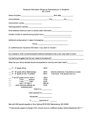 personal fact sheet template - editable personal information sheet for students fill