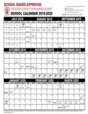 Palm Beach School Calendar 2019 Fillable Online SCHOOL CALENDAR 2019 2020 Fax Email Print   PDFfiller