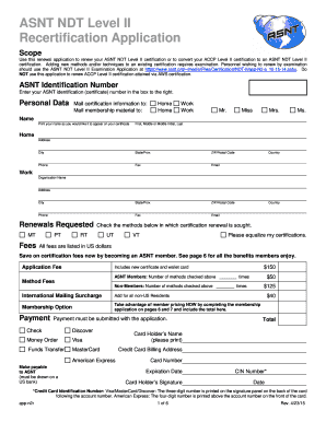 Fillable Online Use this renewal application to renew your ASNT NDT