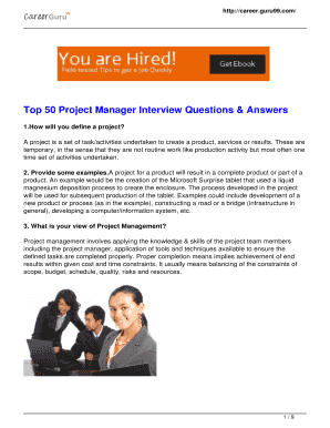 project manager interview answers