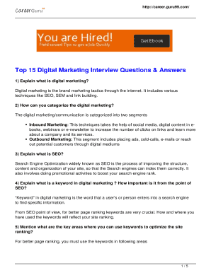 Fillable Online Top 15 Digital Marketing Interview Questions