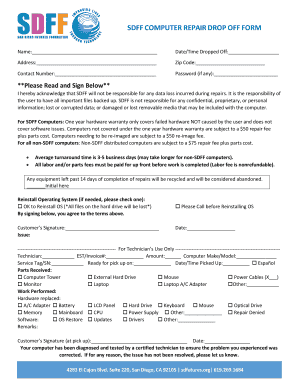 SDFF COMPUTER REPAIR DROP OFF FORM Fill Online Printable Fillable - Invoice en español