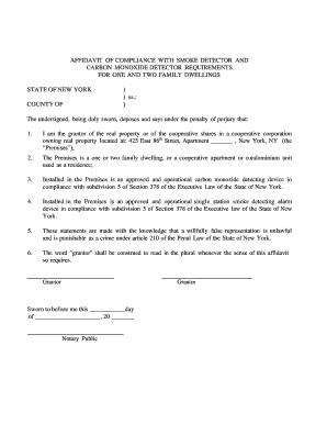 affidavit of compliance with smoke detector - Printable