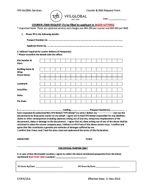 vfs global courier request form - Fillable & Printable