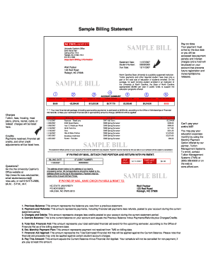 sample billing statements