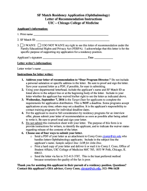SF Match Residency Application (Ophthalmology) Fill Online