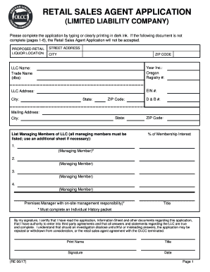 RETAIL SALES AGENT APPLICATION Fill Online, Printable