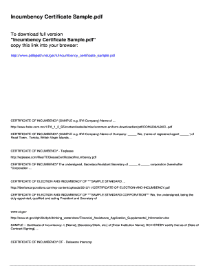 Incumbency certificate sample fill online printable fillable blank certificate of for Incumbency certificate form