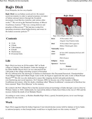 Fillable Online Rajiv Dixit - Wikipedia, the free encyclopedia Fax
