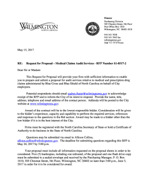 Fillable Online Request for Proposal Medical Claims Audit Services