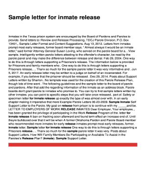 Sample letter for inmate release fill online printable fillable preview of sample altavistaventures Gallery