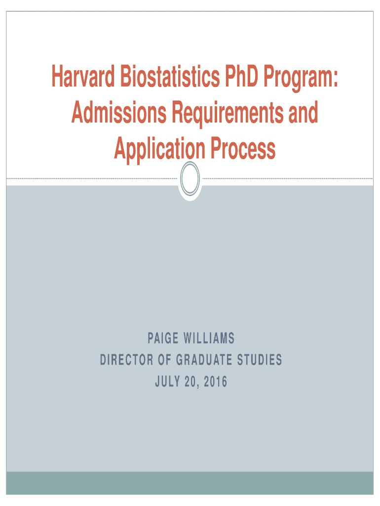 Harvard Biostatistics PhD Program: Fill Online, Printable