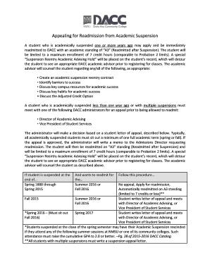 sample appeal letter for college readmission - Edit, Print