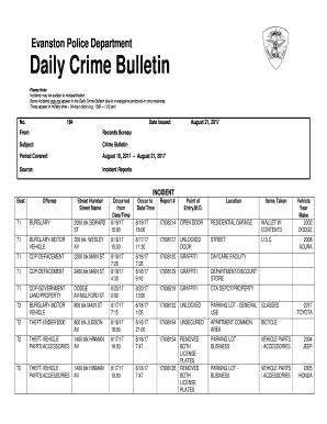 Daily Crime Bulletin Fill Online Printable Fillable Blank Menu