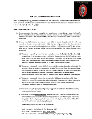 Non Exclusive Beat License Agreement Fill Online Printable
