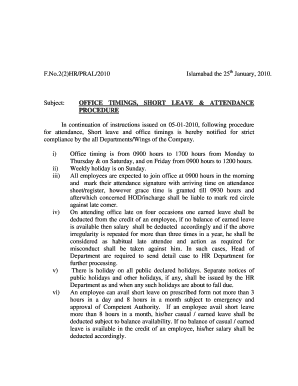 application for short leave in office