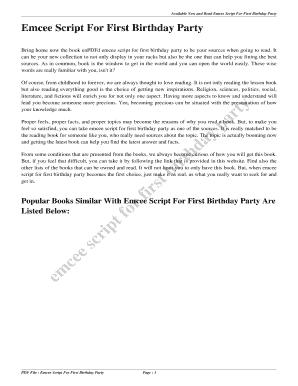 wedding emcee script pdf - Edit Online, Fill Out