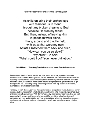 Fillable Online Here is the poem at the end of Connie