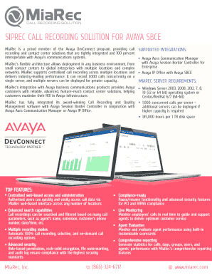 Fillable Online SIPREC CALL RECORDING SOLUTION FOR AVAYA SBCE Fax