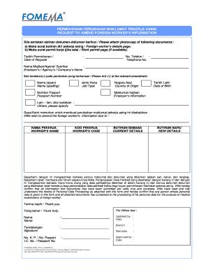 Fomema Amendment Form Fill Online Printable Fillable Blank