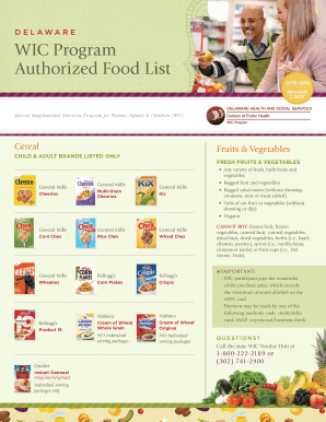 Fillable Online Authorized Food List Fax Email Print Pdffiller