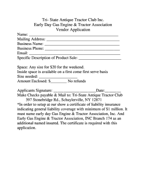 Fillable Online Tri- State Antique Tractor Club Inc Fax