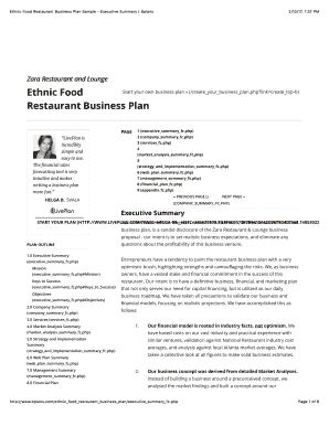 Printable 10 Restaurant Business Plans PDF Forms and Document Blanks